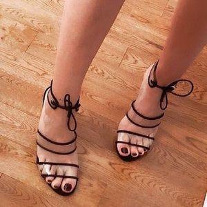 NEW 'Jolie' Clear Lucite & Black Microsuede Heels